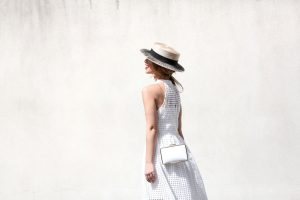 Straw Boater and Relaxed Linen Dress